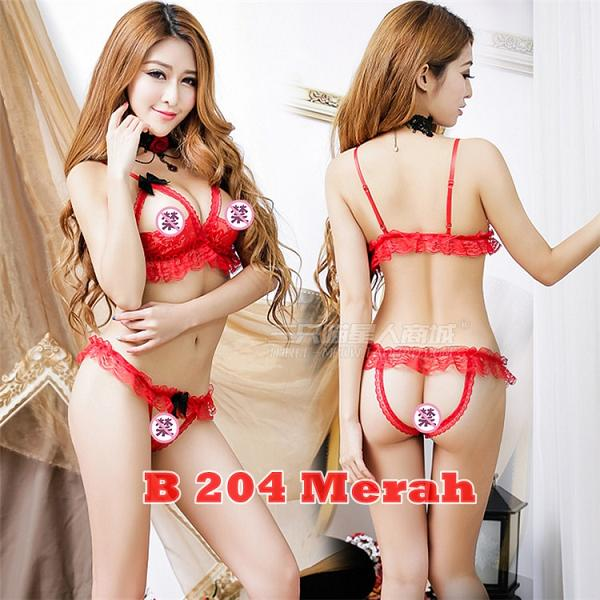 Bra set Open Croth B 204 Merah